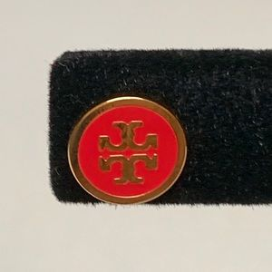 Tory Burch Jewelry - TORY BURCH LOGO RED & GOLD PLATED STUD EARRINGS